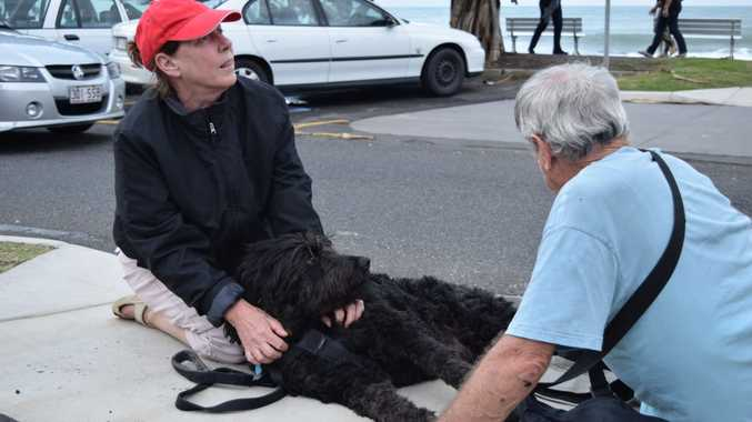 SAD DAY: Brenda and Brian Abbey comfort their dog Archie after he collapsed from a seizure at Mooloolaba Beach on Saturday, June 13. Photo Nicky Moffat / Sunshine Coast Daily