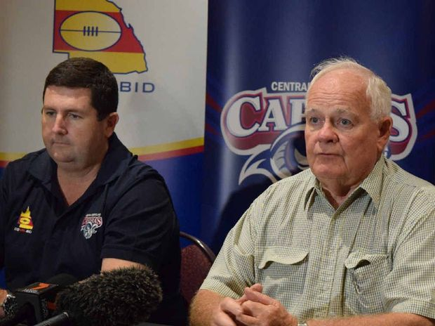 NO GO: Capras' operations manager Brendan Bowers and chairman Geoff Murphy break the bad news to Central Queensland league fans that players such as Titans forward Luke Douglas (inset) will not be seen in the region this season.