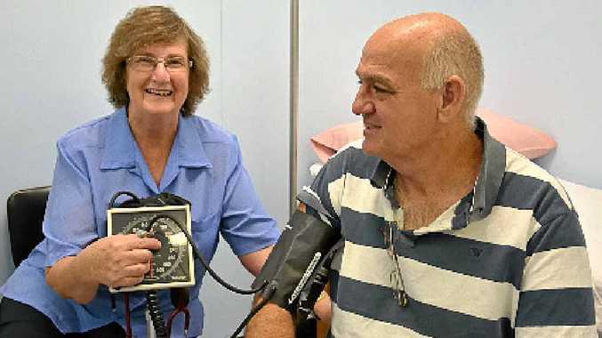 Jundah nurse Sue Anderson with Warren Hansen, who runs the local pub.