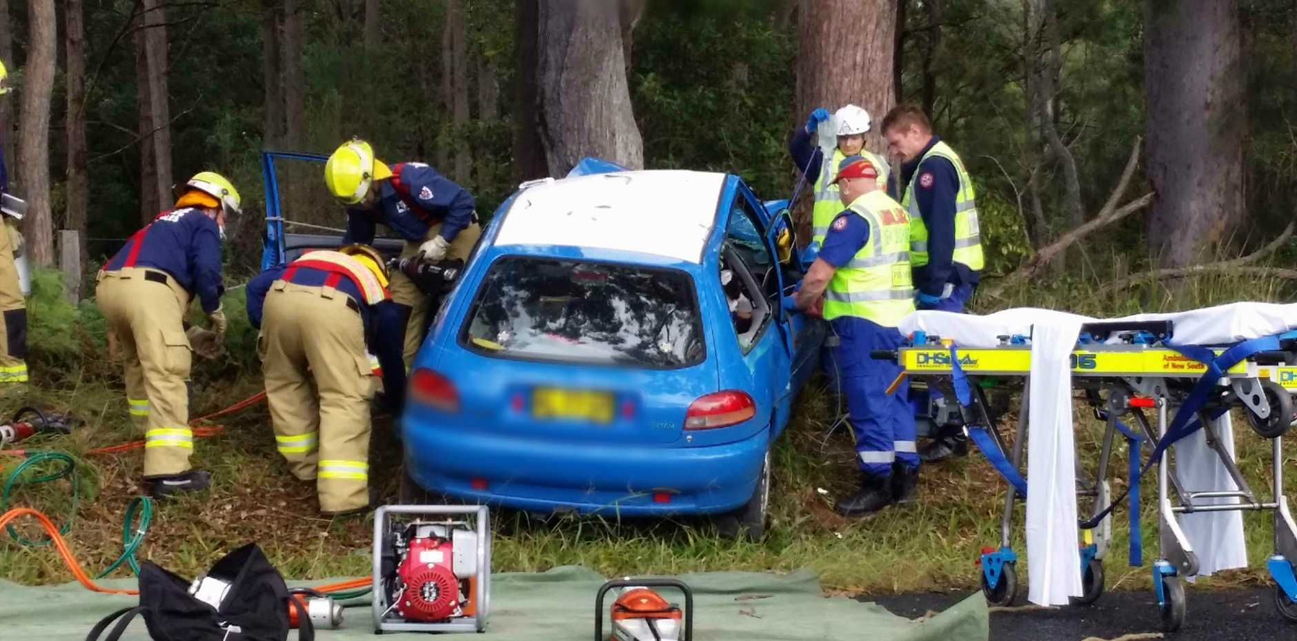 A woman has admitted to Coffs Harbour Base Hospital after a single vehicle crash on Bucca Rd this morning.