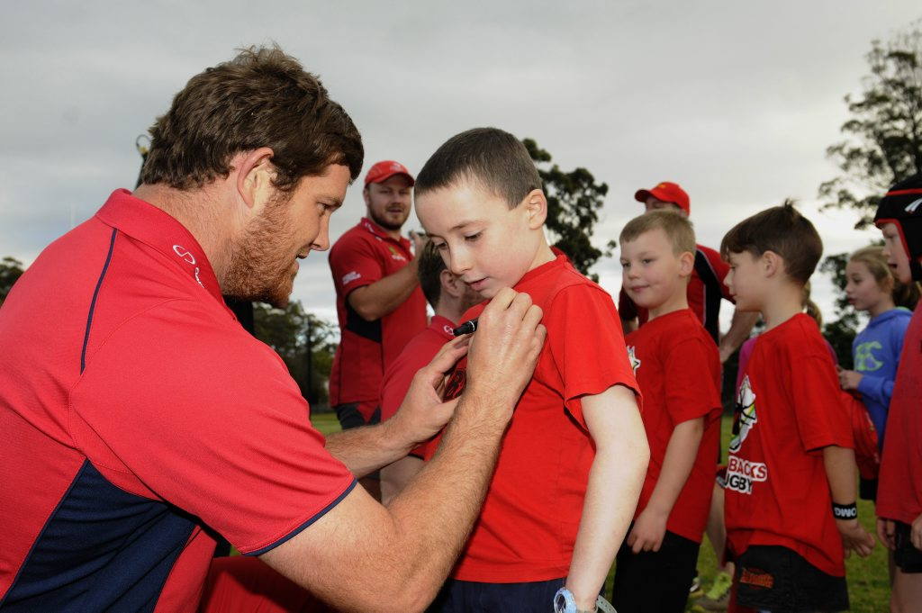 Queensland Reds players Greg Holmes