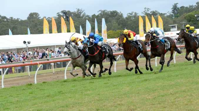 Danchai (grey) and jockey Luke Tarrant ride to victory in the 2015 Ipswich Cup.