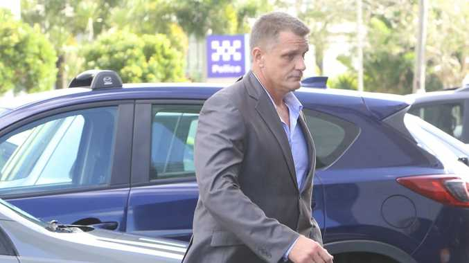 Police officer Anthony Scott Dark walks from the Maroochydore Magistrates Court after pleading guilty to dangerous operation of a vehicle in Nambour on the morning of August 1 last year. Photo: Nicola Brander/ Sunshine Coast Daily.