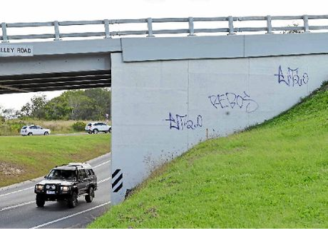 BRIDGE TAGS: The overpass near Normanby Bridge did not escape the damage.