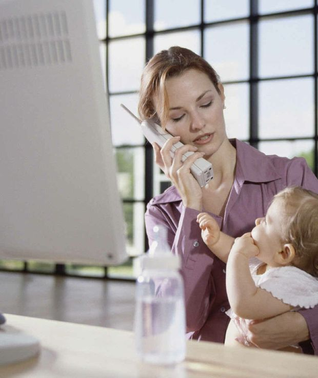 BALANCING ACT: Mothers who work part-time aren't having fancy lunches when they are not in the office.