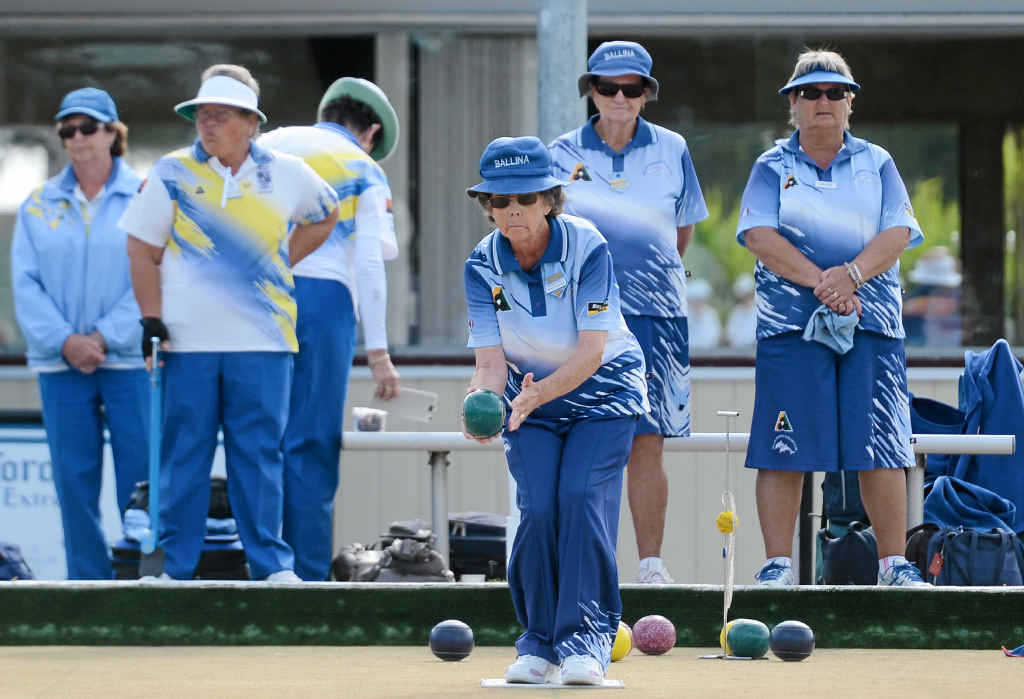 Shirley Baldwin from the Ballina Bowling Club competes in the Zone 1 women's pennant play-offs at the South Lismore Bowling Club last week.
