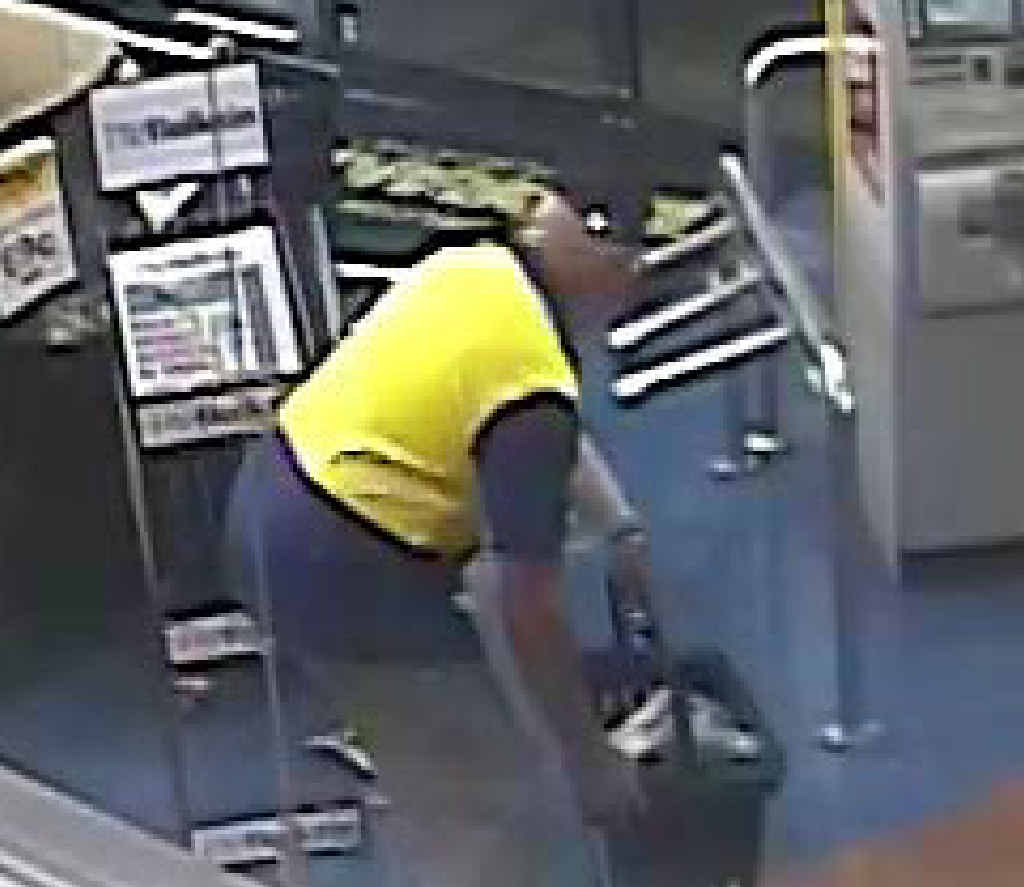 CCTV footage: An alleged offender enters Drake's IGA Glenmore.