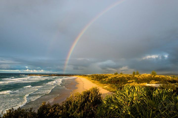 Scott Rolph of Early Bird Photography took this image of a rainbow over Lighthouse Beach, Ballina.