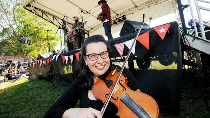 Kim Watling, ready to hit the stage in the picking and Fiddle compition at last year's BBQ and Bluegrass festival in Bangalow.