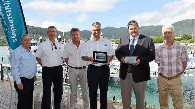 WARM WELCOME: Legend of the Seas was welcomed to the Whitsundays this week.