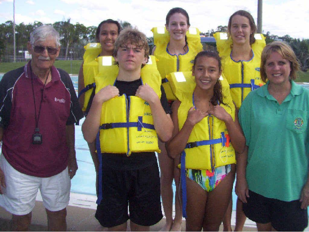 WELL DONE: Trainers Brian Dorey and Sharyn Black with trainee lifesavers Khrysti Balanay, Matthew Francis, Johanna Scully, Vanessa Balanay and Elanor Rowbotham.