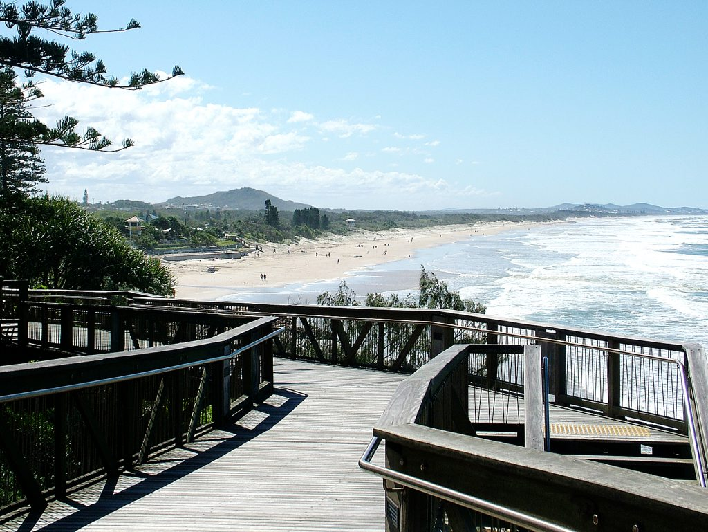 The Coolum boardwalk is a safe, easy walk with views of the beach.