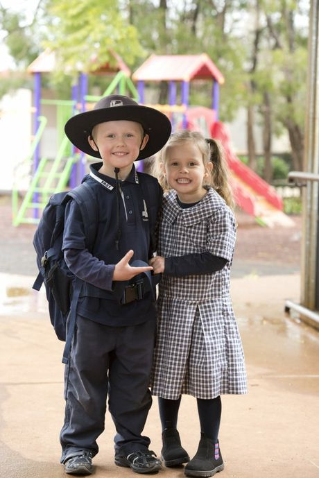 Toowoomba East State School student Max Bennett with his sister Miley.