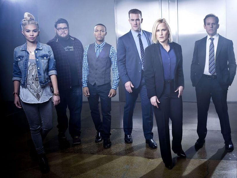 The cast of the TV series CSI: Cyber, from left, Hayley Kiyoko, Charley Koontz, Shad Moss, James Van Der Beek, Patricia Arquette and Peter MacNicol.