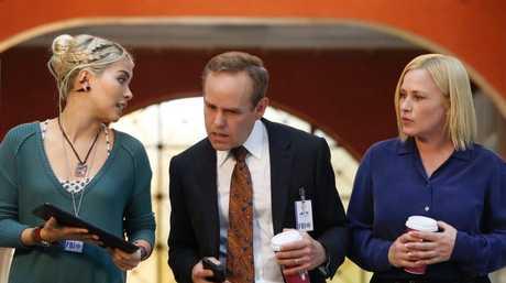 Raven Ramirez, Peter MacNicol and Patricia Arquette in a scene from CSI: Cyber.