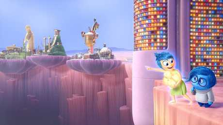 Joy and Sadness must venture through Long Term Memory to find their way back to Headquarters in a scene from Inside Out.