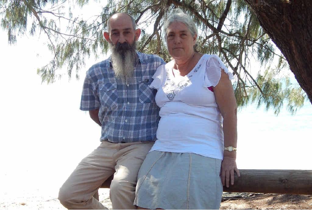 MEMORIES: Ian and Cheryl Antonio at Queens Beach, Bowen, near where their daughter Rachel was last seen.