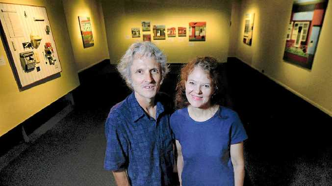 Peter and Susan O'Doherty with their exhibition Moving House, which is on show at the Rockhampton Art Gallery.