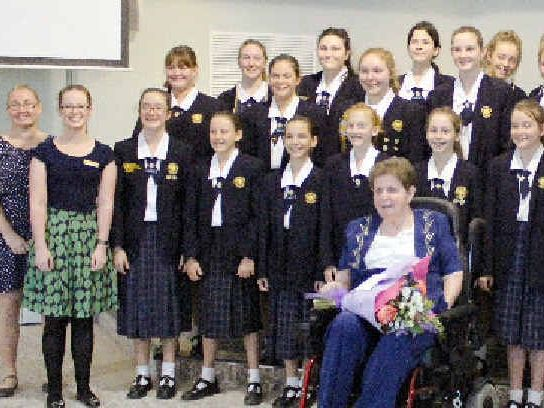 HIGH NOTE: Rockhampton Girls Grammar School Choirs performed at Shalom Aged Care, in particular to Nita Whyte, an icon for the Rockhampton music community.