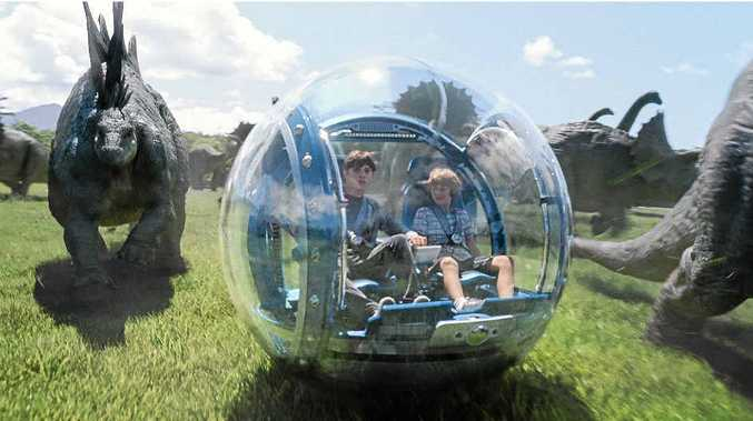 VISUALLY AMAZING: Nick Robinson and Ty Simpkins in a scene from the movie Jurassic World.