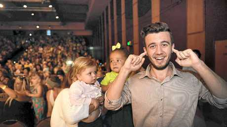 RAISING THE ROOF: Sunshine Coast Daily journalist Luke Simmonds at The Wiggles Rock 'n' Roll Preschool Tour at The Events Centre, Caloundra yesterday.