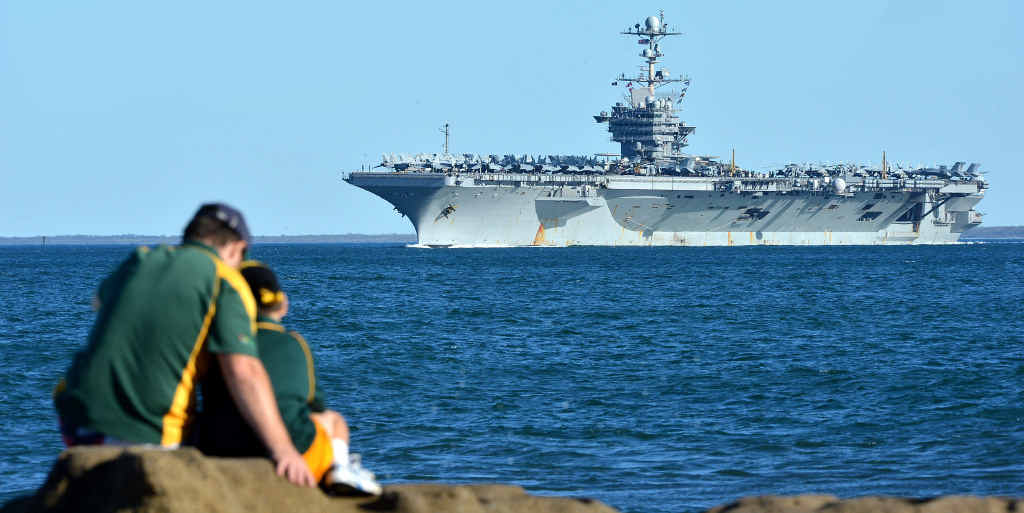 HELLO SAILORS: The USS George Washington naval ship sails past Caloundra during its 2013 visit to Queensland.