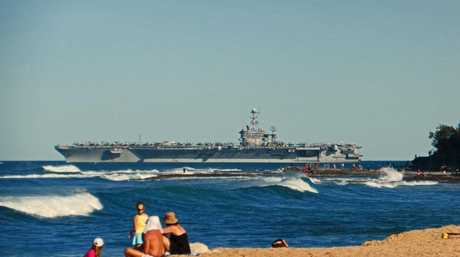 The USS George Washington off Caloundra. Photo Contributed