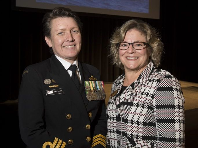 Commanding Officer HMAS Toowoomba, Commander Cath Hayes (left) with Zonta vice-president Kathryn Galea