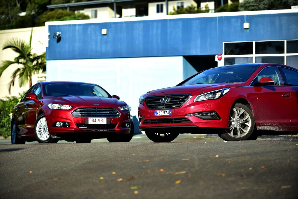 SUV RIVALS: Ford Mondeo and Hyundai Sonata just two of a talented sedan choice on our market