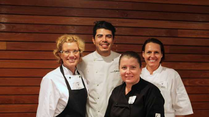 DREAM DATE: Scenic Rim culinary interns Teri Taylor, Sammy Savery and Kate Raymont with Eat Local Week Ambassador Josue (Josh) Lopez and (inset) some of the creations on offer.