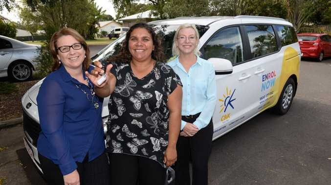 NEW ASSET: C&K; Kindergarten's Sandi Lascelles and Dorothy Brown are happy to receive, from the Member for Bundaberg Leanne Donaldson, the keys to a new car thanks to a $35,500 grant from the Queensland Government's Small Assets Grant Programme to the Bundaberg Kindy and Community Links Program. Photo: Mike Knott / NewsMail
