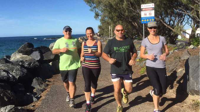 IN TRAINING: Andrew Mifsud, Nicole Brooks, Brenden Pellegrino and Jenny Pellegrino pound the pavement on their way to the Kokoda Challenge.