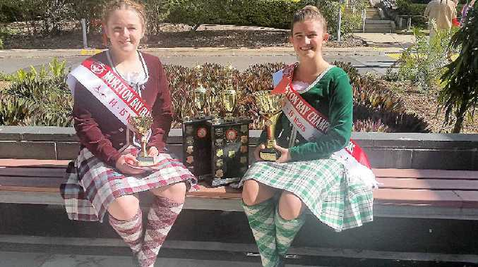 SCOTLAND BOUND: Nicole Cowling and Steffaney Treadwell with trophies won at Moreton Bay. Photo: Contributed