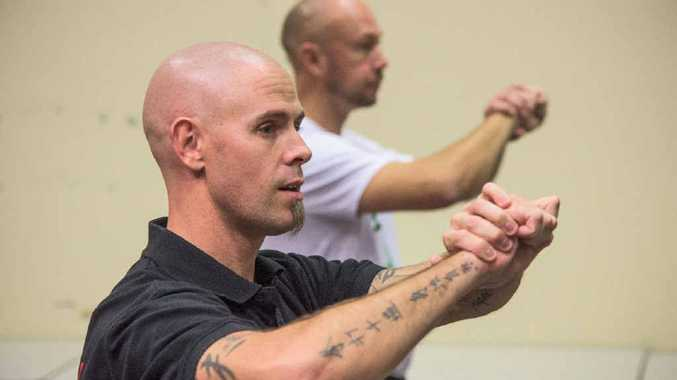 CLASS ACT: Master instructor in Southern Praying Mantis Kung Fu Sifu Jody Blatch instructs his Grafton students. Photo: Adam Hourigan