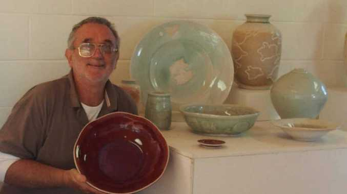HOT POTS: Ceramic artist Geoff Crispin in his Whiteman Creek studio. The potter is holding a rare sale next weekend to help fund his trip to Finland for a month-long pottery workshop. INSET: Risto's wood fire kiln in Finland where Geoff will be firing his workshop pots.
