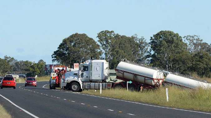 TRUCK CRASH: A B-double truck was stuck in the ditch at the corner of Caniaba Rd and Bruxner Highway.