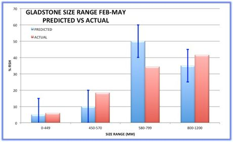 Size range of barramundi in the Gladstone area for February - May 2015.