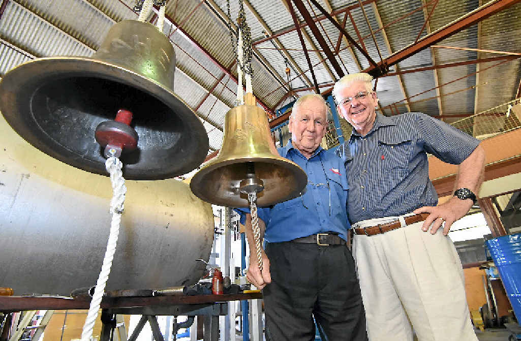 TWIN VERSIONS: Olds Engineering CEO Peter Olds (left) and the Historical Village's John Anderson with the Maheno's original bell and the replica.