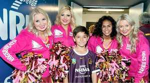 BIG FAN: (Top) Sebastian Lopez (left) holding Brisbane Broncos captain Justin Hodges' hand. (Left above) Lopex with Broncos' cheerleaders. (Right above) Sebastian with Broncos mascot.