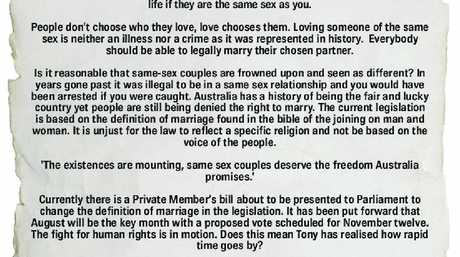 UNFAIR: Tylah-Jayde Schmidt has put her case for changing legislation to allow same-sex marriage and has written a letter to Prime Minister Tony Abbott on the topic. Part of it appears above.
