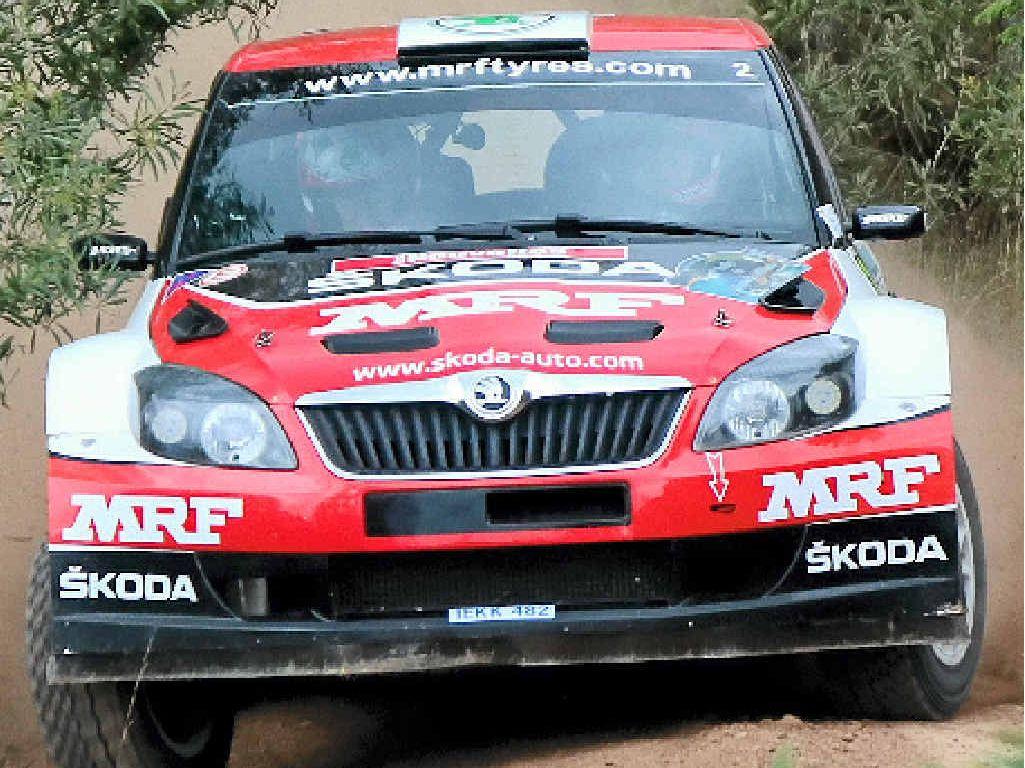 RACE FAVOURITE: Pontus Tidemand of Sweden in his Skoda Fabia Super 2000.