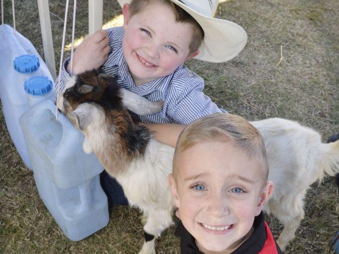 Callum Mack, 6 and Joe Murray, 6, at the Rosewood Show. Photo Inga Williams / The Queensland Times