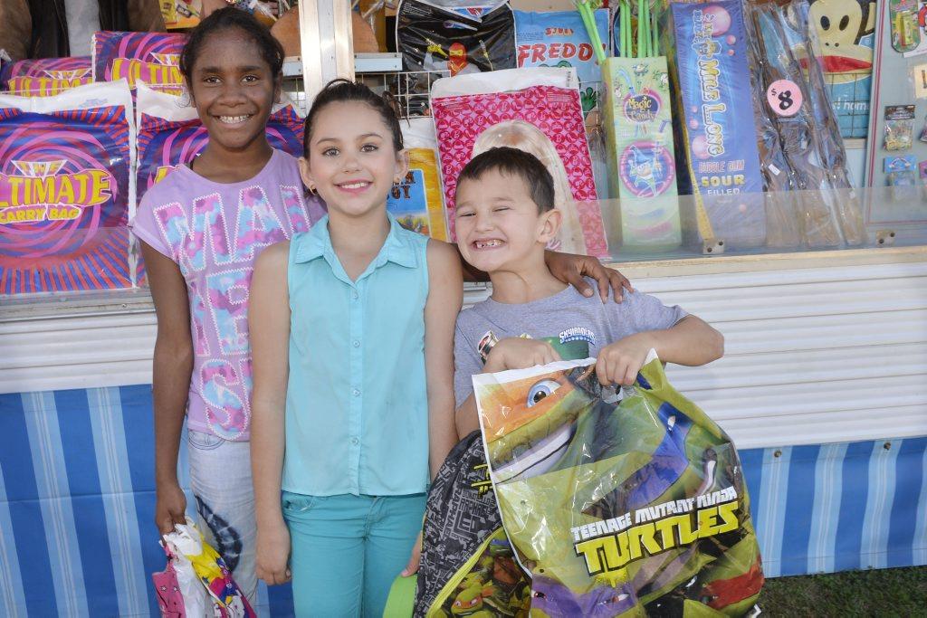 Florence Yock, 11, Ericka Harris, 8, and Hayden Harris, 6.