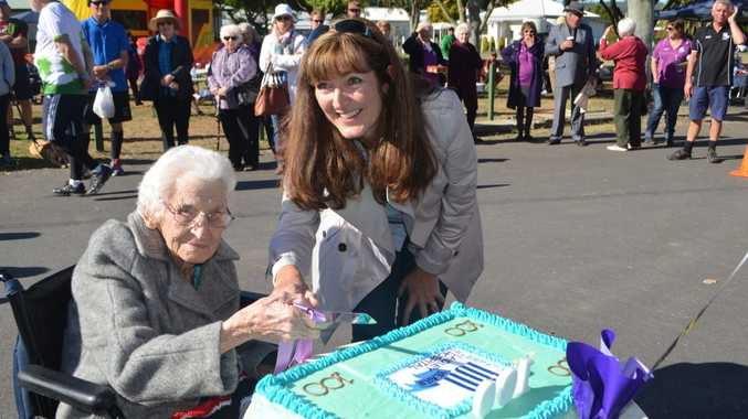Barbara Keller, at 97 the oldest living 'baby' born at Laidley Hospital, and Dr Mary Corbett, Chair of West Moreton Hospital and Health Board, cut the 100th birthday cake at Laidley Hospital Photo Gary Worrall / Gatton Star