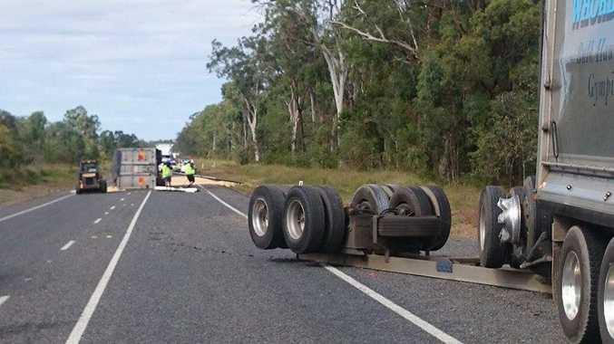 A truck rolled over on the Bruce Hwy earlier this afternoon after blowing a tyre. photo contributed