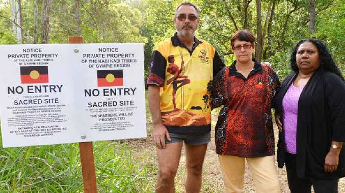 BACKING: Kabi Kabi elders Auntie Bev Muckan and Auntie Bucky Tomlinson joined Gary Tomlinson near Gympie yesterday to convey their 100% support for his defence of Kabi Kabi heritage rights in the area.