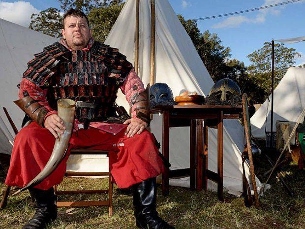 "AXE MAN: Marko Toth, aka ""Loki"" the Viking, at the Viking Village in Lismore."