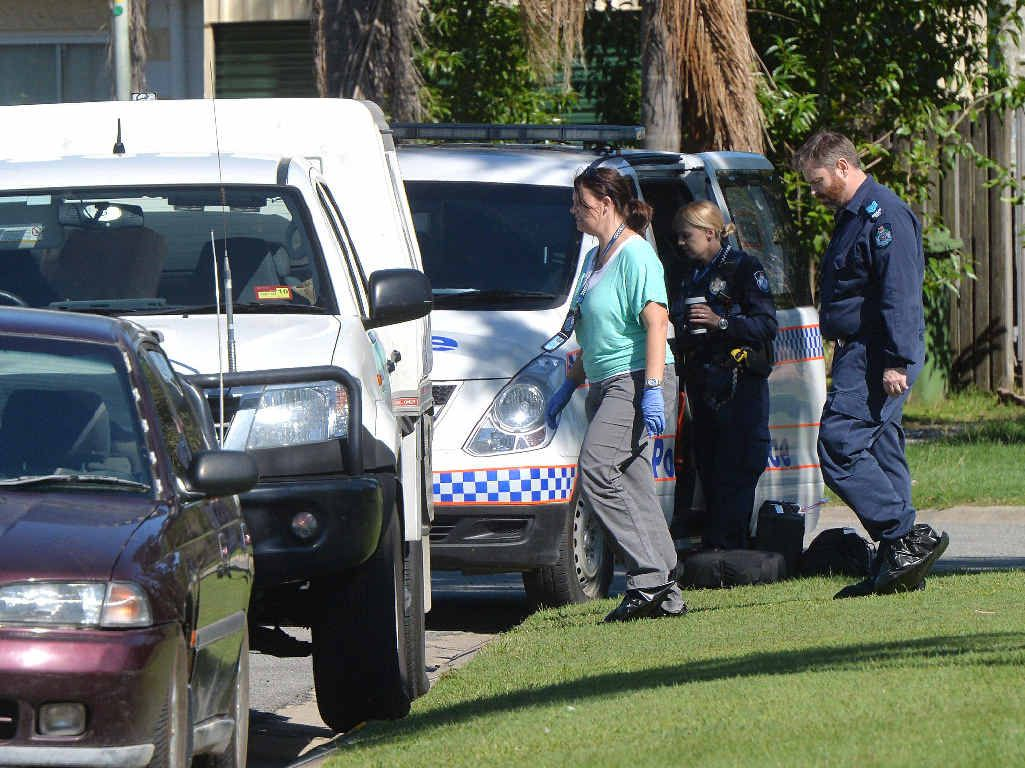CRIME SCENE: Police investigators outside the Ellul Court residence where a 39-year-old woman died.
