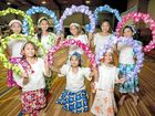 COLOURFUL TRADITIONS: At back: Angela Dolor, 9, Precious Miro, 15, Chanelle Miro, 11, Charylle Tanyag, 12, Jane Sasan, 10. (Front) Kayla Scott, 9, Kelly Geronimo, 12 and Yan Yan Gulay, 8 helped the celebrations with their cultural dances.