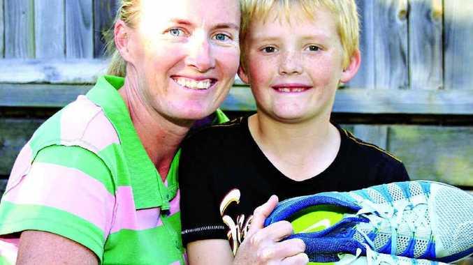 TOUGH 'FUN RUN': Katrina List has raised $5000 for Cystic Fibrosis Queensland. Her son Samson, 8, has the disease.
